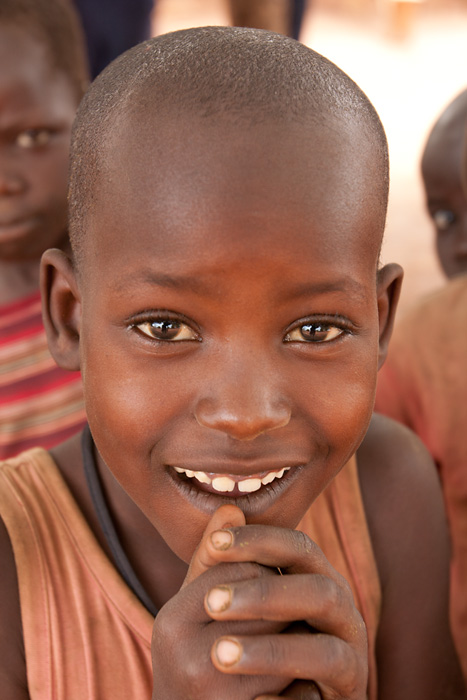 Young boy at a refugee camp in northern Uganda