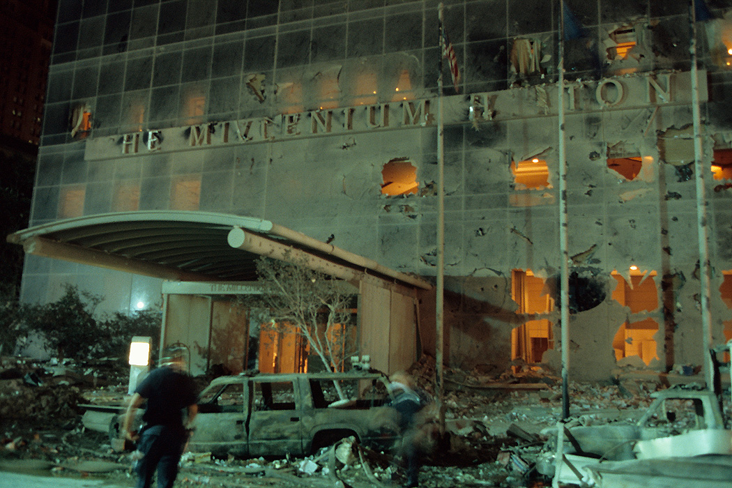 Destroyed façade of the Millennium Hilton, across the street from the World Trade Center