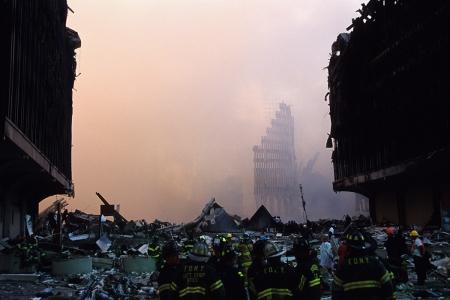 Dawn at Ground Zero in Manhattan on September 12, 2001