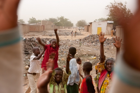 A group of orphans in a street in N'Djamena, Chad
