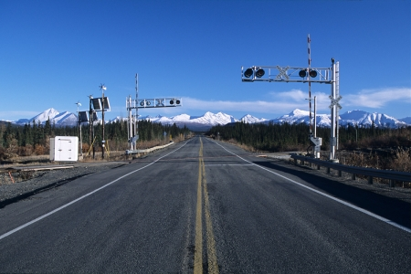 Railroad crossing on Alaska Highway 3