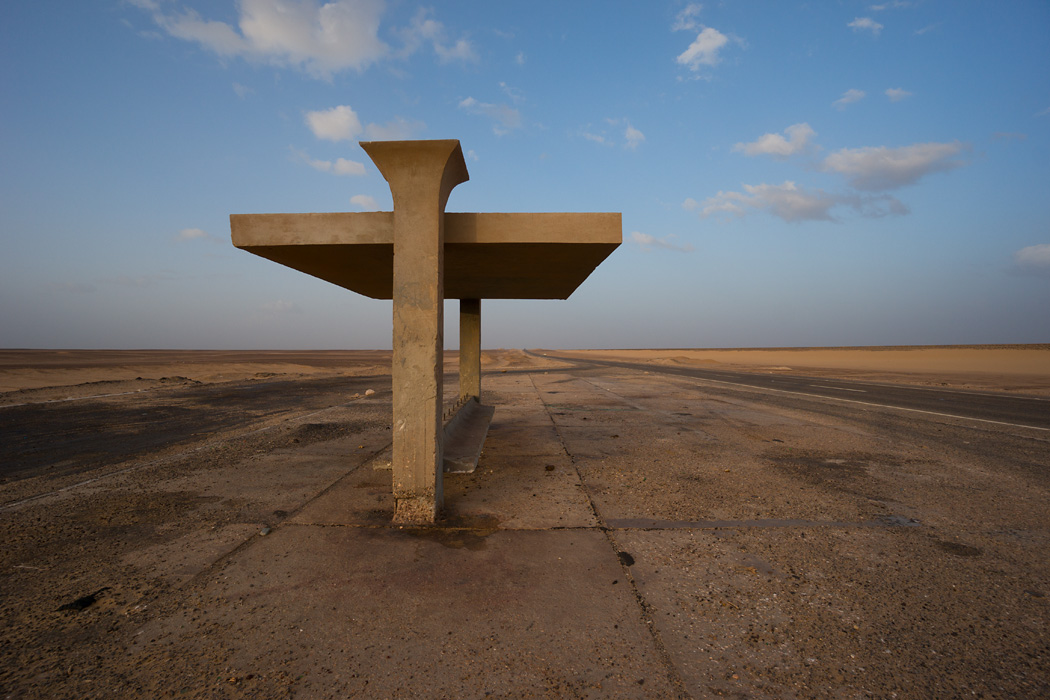 A bus stop in the Libyan Desert